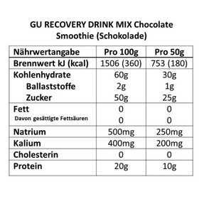 GU Energy Recovery Drink Mix Urheiluravinto Suklaa 12 x 50g , beige/ruskea